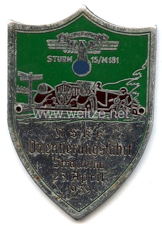 """NSKK - nichttragbare Teilnehmerplakette - """" NSKK Sturm 15/M181 Orientierungsfahrt Straubing 23. April 1939 """""""