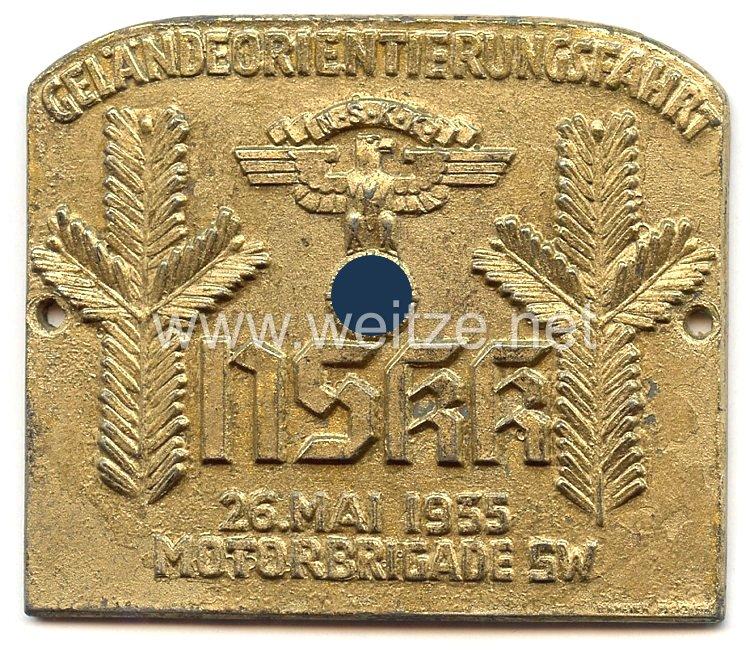 """NSKK - nichttragbare Teilnehmerplakette - """" Geländeorientierungsfahrt NSKK Motorbrigade SW 26. Mai 1935 """""""