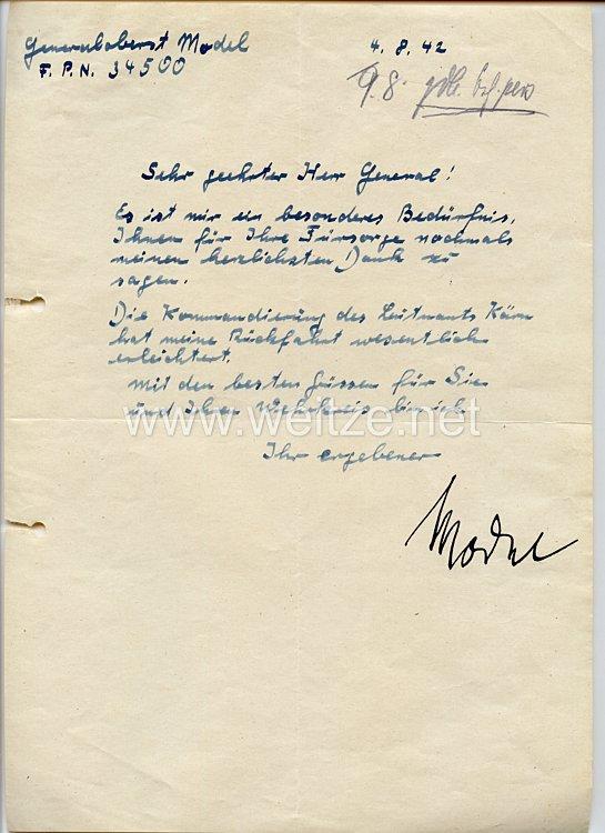 Heer - Originalunterschrift von Ritterkreuzträger Generaloberst Walter Model auf einem Brief
