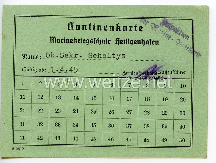 Kriegsmarine - Marinekriegsschule Heiligenhafen - Kantinenkarte