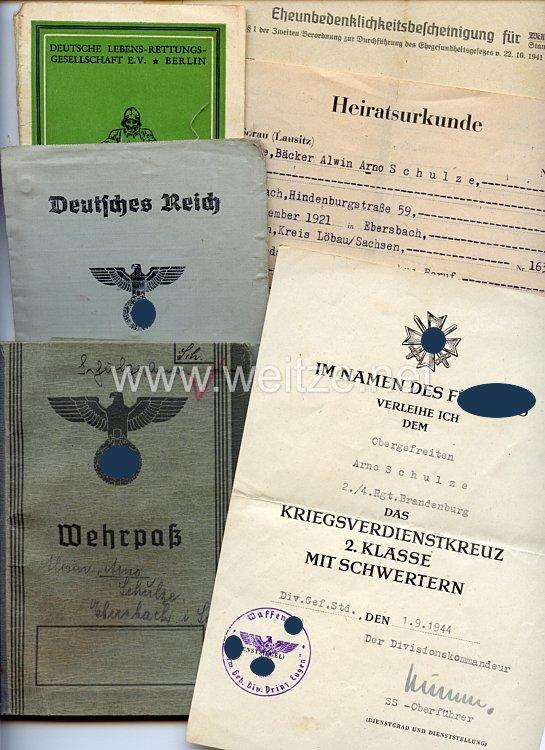 """Heer - Dokumentengruppe für einen späteren Obergefreiten der 2./4.Rgt. """" Brandenburg """", der 1944 in Kroatien gefallen ist."""