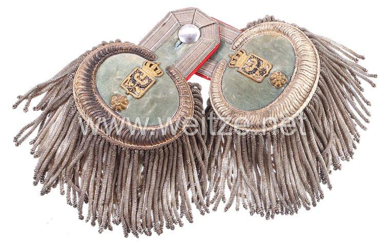 Preußen Paar Epauletten für einen für einen Ober-Kriegsgerichtsrat der III. KLasse, Militär-Justiz-Verwaltung