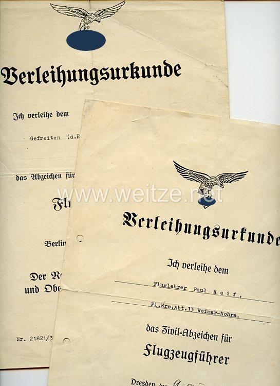 Luftwaffe - Urkundenpaar für einen Inhaber des Zivil-Abzeichens für Flugzeugführer
