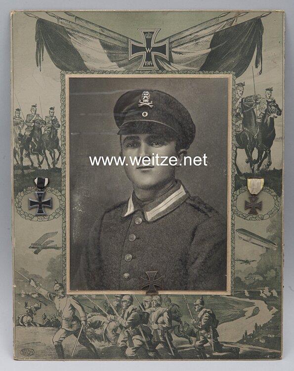 Braunschweig Infanterie-Regiment Nr. 92 grosses Erinnerungsfoto eines Soldaten mit Auszeichnungen