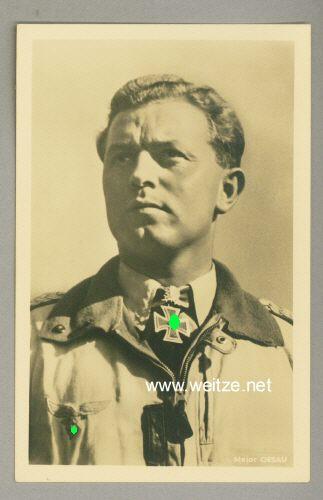 Luftwaffe - Portraitpostkarte von Ritterkreuzträger Major Walter Oesau