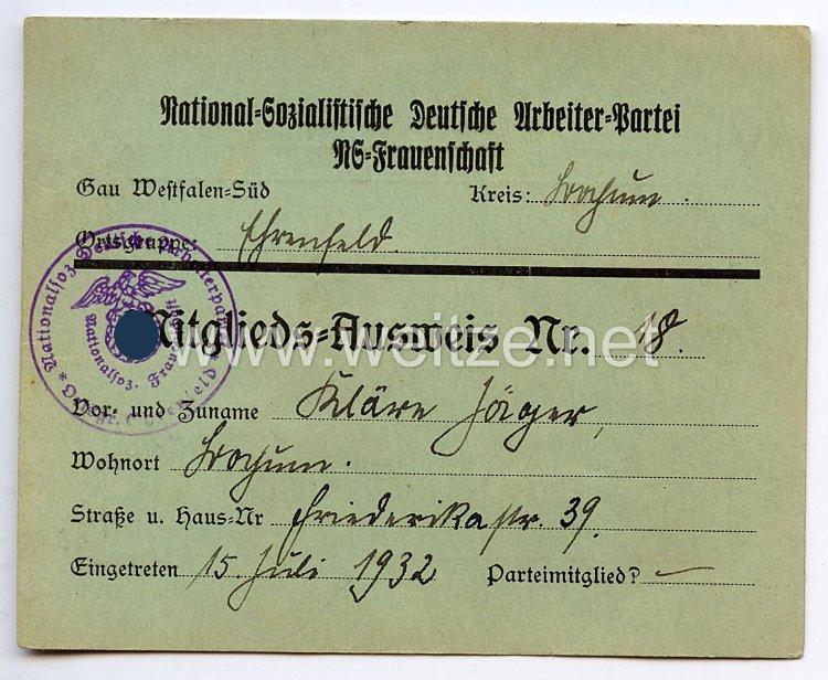 NS-Frauenschaft Gau Westfalen-Süd Kreis Bochum - Mitglieds-Ausweis