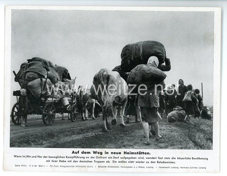 """III. Reich - gedrucktes Pressefoto """" Auf dem Weg in neue Heimstätten """" 17.8.1943"""