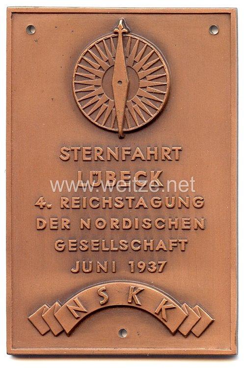 """NSKK - nichttragbare Teilnehmerplakette - """" Sternfahrt Lübeck 4. Reichstagung der Nordischen Gesellschaft Juni 1937 """""""