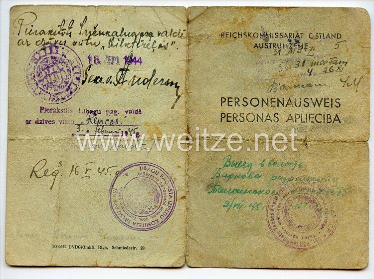 III. Reich / Reichskommissariat Ostland - Personenausweis für einen Frau des Jahrgangs 1912