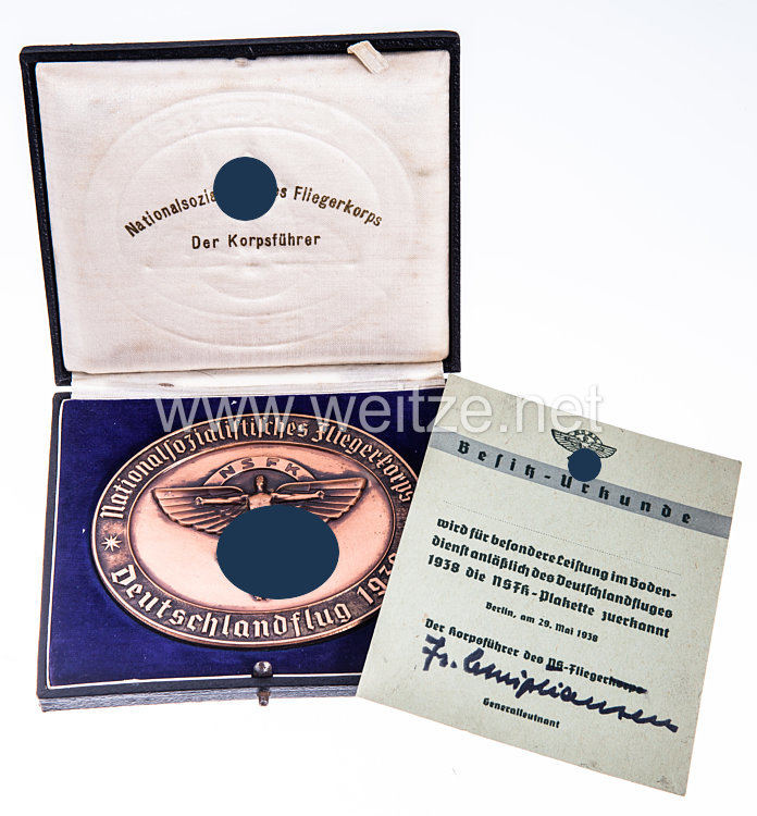 """NSFK Bronzene Teilnehmerplakette """"Nationalsozialistisches Fliegerkorps - Deutschlandflug 1938"""""""