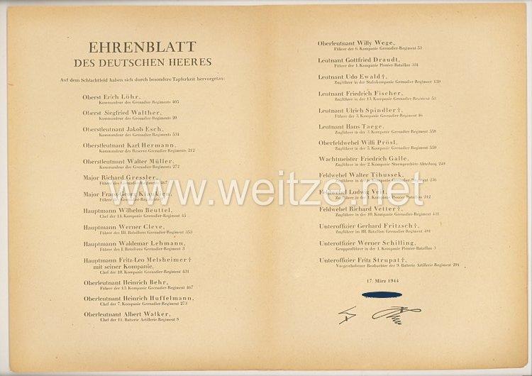 Ehrenblatt des deutschen Heeres - Ausgabe vom 17. März 1944