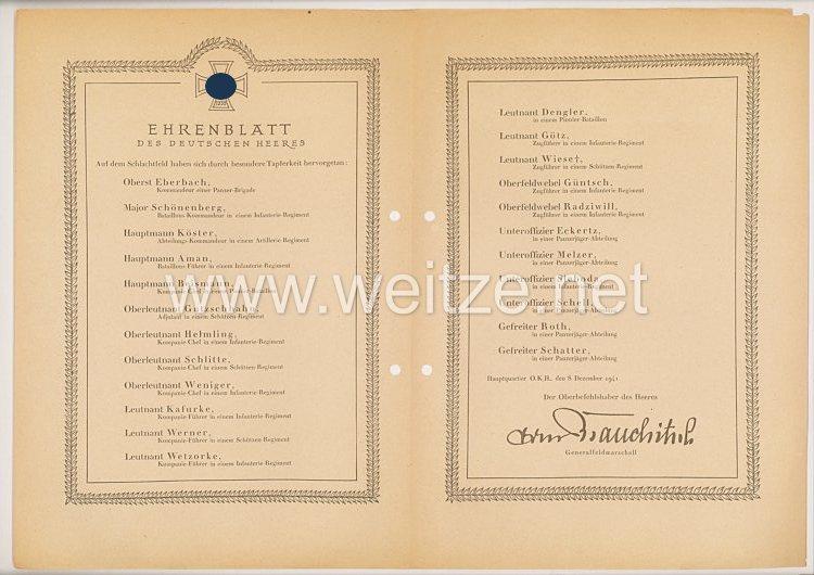 Ehrenblatt des deutschen Heeres - Ausgabe vom 8. Dezember 1941