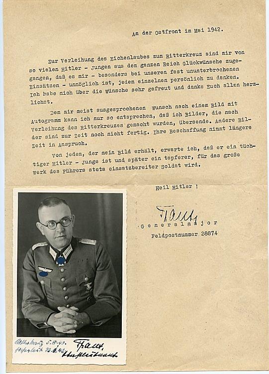 Heer - Faksimileunterschrift von Ritterkreuzträger Generalmajor Hans Traut