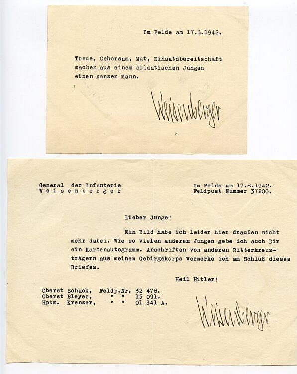 Heer - Ritterkreuzträger Generalleutnant Karl Weisenberger, Kommandeur des XXXVI. Gebirgs-Korps - Originalunterschrift auf einem Brief