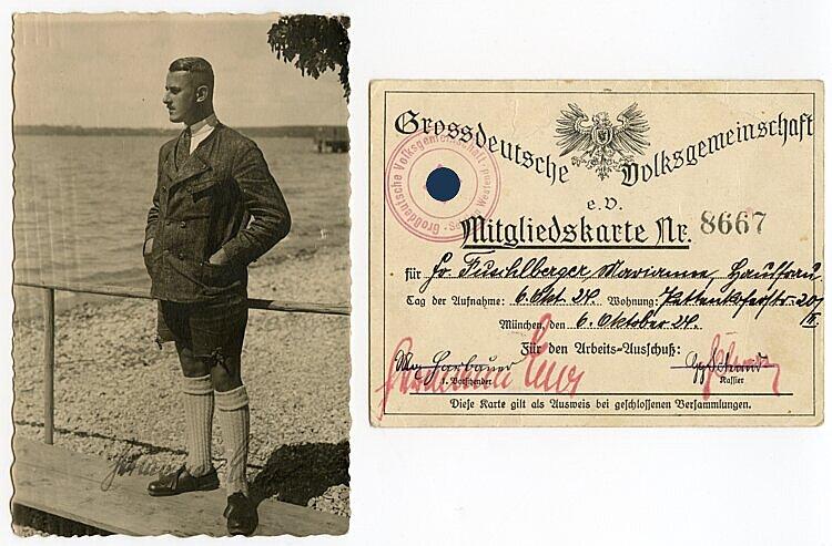 III. Reich - NSDAP - Hermann Esser und die Grossdeutsche Volksgemeinschaft e.V. - Originalunterschrift mit Widmung