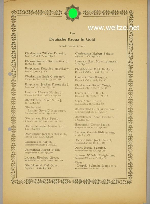 Verleihungsliste für das Deutsche Kreuz in Gold - Februar 1944