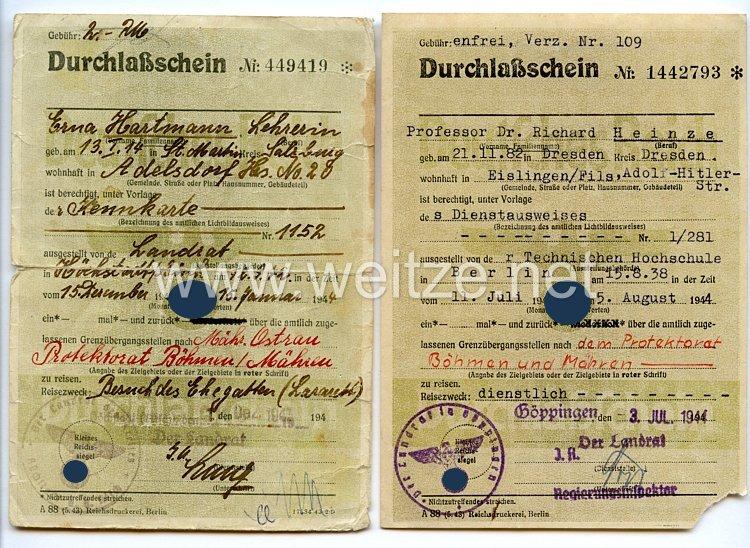 III. Reich - 2 x Durchlaßschein zum Protektorat Böhmen und Mähren