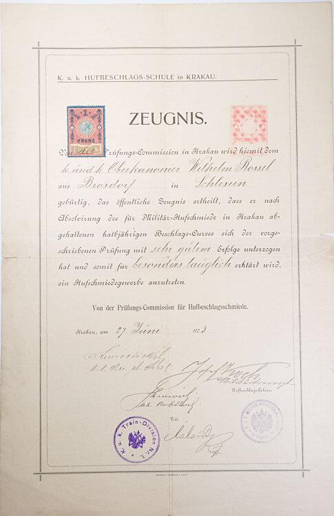 K.u.k. Hufbeschlags-Schule in Krakau - Zeugnis