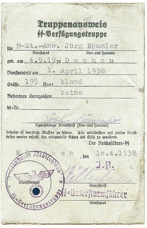 Truppenausweis der SS-Verfügungstruppe