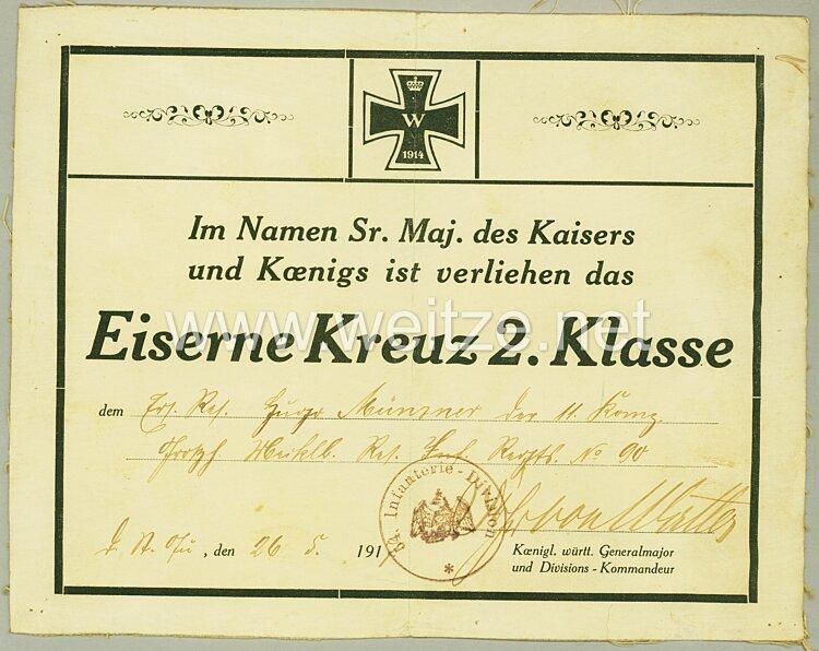 1. Weltkrieg - Originalunterschrift des Pour le Mèrite mit Eichenlaub Trägers Generalleutnant Freiherr Oskar von Watter