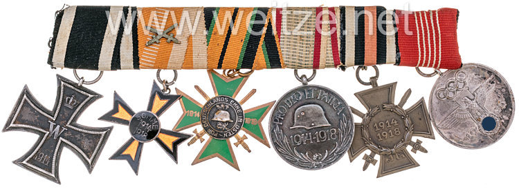 Selbst gefertigte Ordensschnalle eines preußischen Veteranen des ersten Weltkrieges