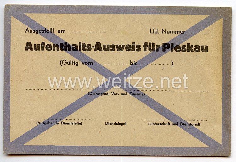 III. Reich / Russland - Aufenthalts-Ausweis für Pleskau