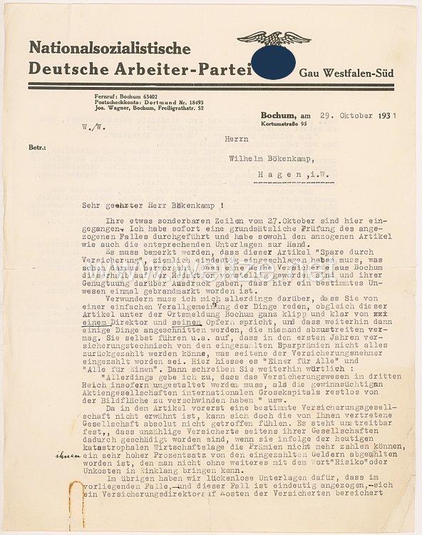 III. Reich - Originalunterschrift von Josef Wagner, Gauleiter von Westfalen-Süd