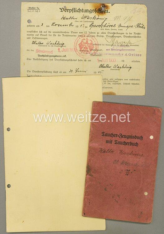 Kriegsmarine - Taucher-Zeugnisbuch mit Taucherbuch