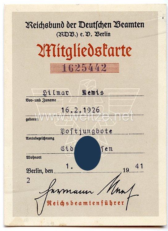 Reichsbund der Deutschen Beamten ( RDB ) e.V. Berlin - Mitgliedskarte