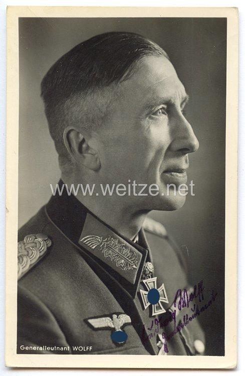 Heer - Faksimileunterschrift von Ritterkreuzträger Generalleutnant Ludwig Wolff