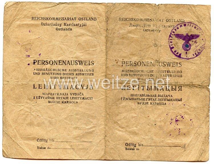 III. Reich / Reichskommissariat Ostland - Personenausweis für einen Frau des Jahrgangs 1908