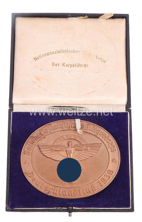 """NSFK - nichttragbare Goldene Plakette - """" Nationalsozialistisches Fliegerkorps - Deutschlandflug 1938 """""""