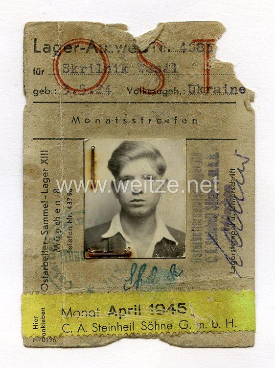 III. Reich - Lager - Ausweis für einen Ukrainischen Ostarbeiter des Jahrgangs1924