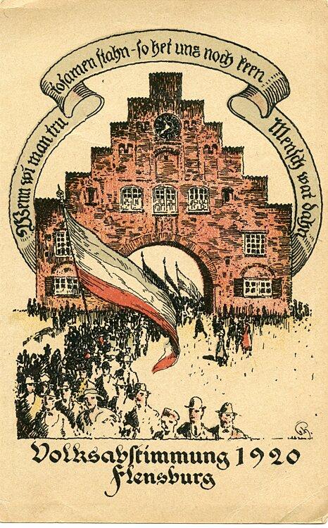 """Weimarer Republik - Propaganda-Postkarte """" Volksabstimmung 1920 Flensburg """""""