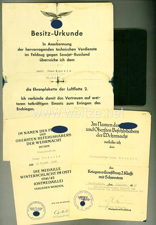 Dokumentengruppe für einen Angehörigen des Jagdgeschwaders Mölders mit der Berechtigung das Erinnerungsband zu tragen