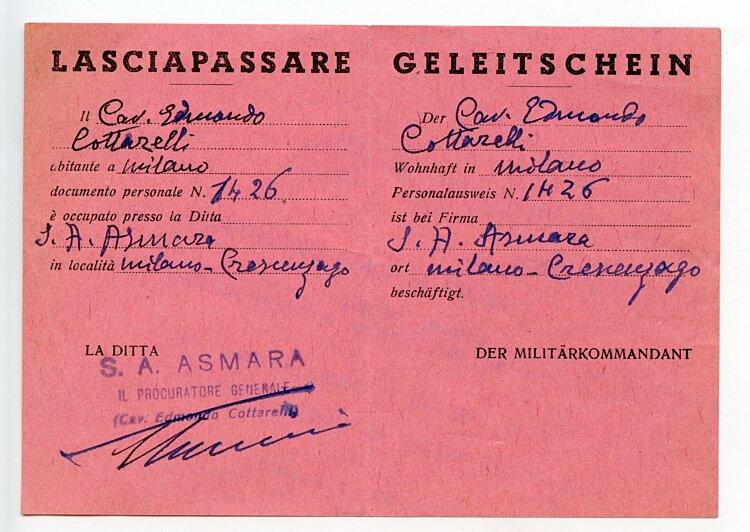 III. Reich - Militärkommandant von Milano ( Italien ) - Geleitschein