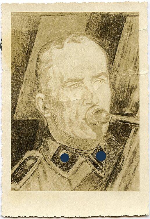 Fotografie einer Portraitzeichnung eines Waffen-SS Scharführer