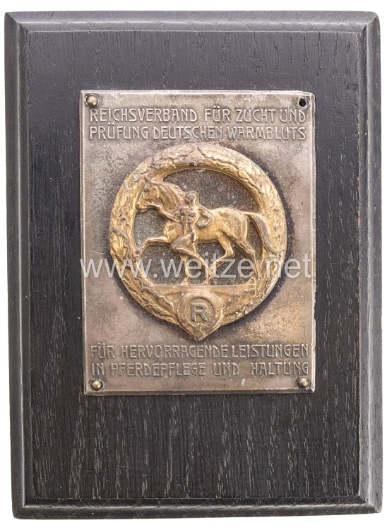 Reichsverband für Zucht und Prüfung Deutschen Warmbluts: nichttragbare bronzene Verdienstplakette