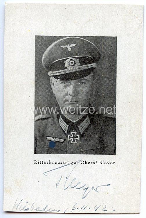 Heer - Originalunterschrift von Ritterkreuzträger Oberst Eugen-Heinrich Bleyer