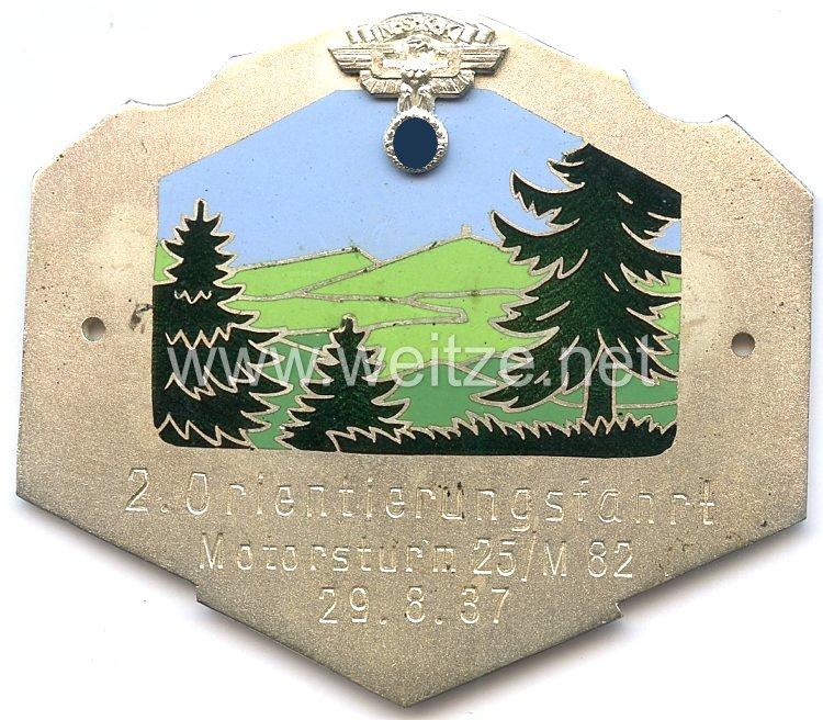 """NSKK - nichttragbare Teilnehmerplakette - """" Motorsturm 25/M82 2. Orientierungsfahrt 29.8.1937 """""""