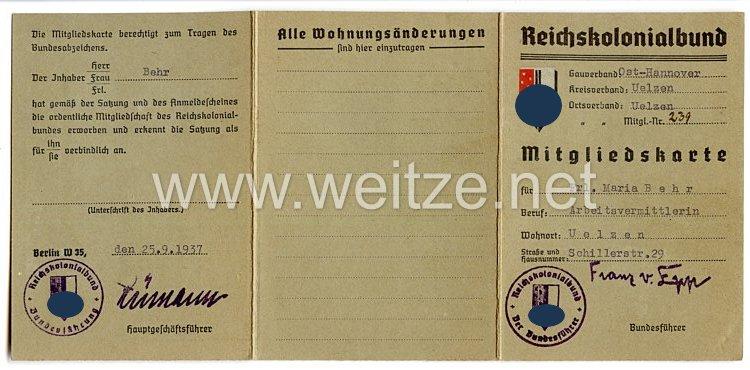 Reichskolonialbund - Gauverband Ost-Hannover Ortsverband Uelzen - Mitgliedskarte