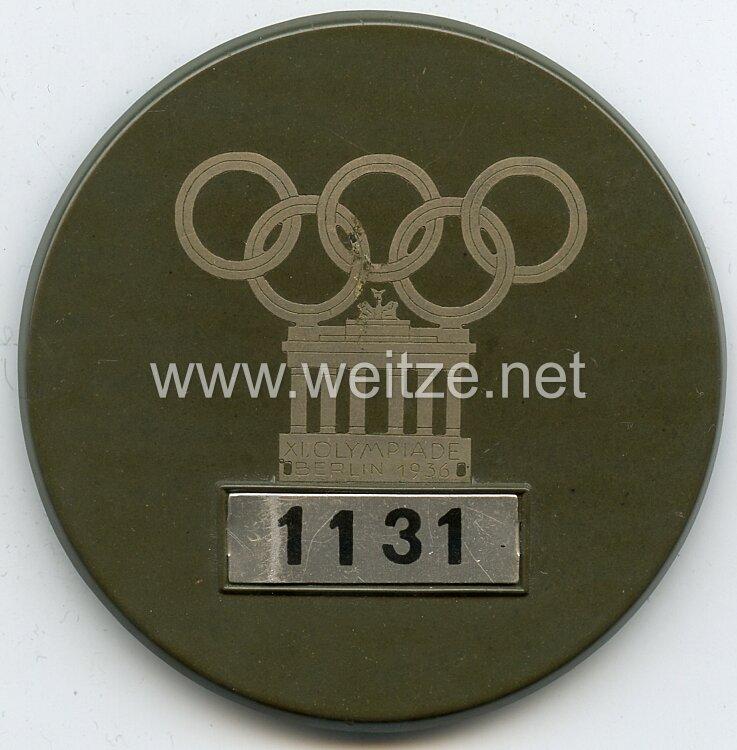 XI. Olympischen Spiele 1936 Berlin - Dienstplakette als Ausweismarke für die im Olympischen Dorf Döberitz Beschäftigten und Offiziellen