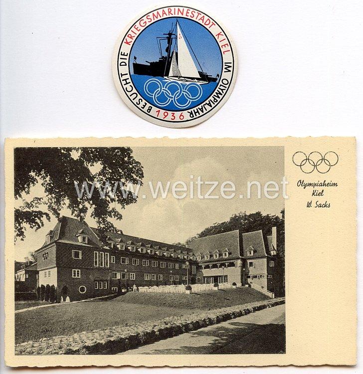 XI. Olympischen Spiele 1936 Berlin - Kiel - Postkarte und Vignette