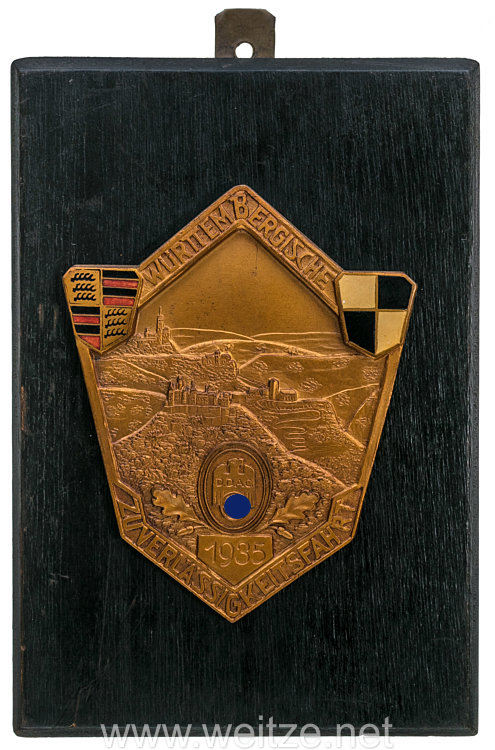 """III. Reich - Der Deutsche Automobil Club ( DDAC ) - nichttragbare Teilnehmerplakette - """" Württembergische Zuverlässigkeitsfahrt 1935 """""""