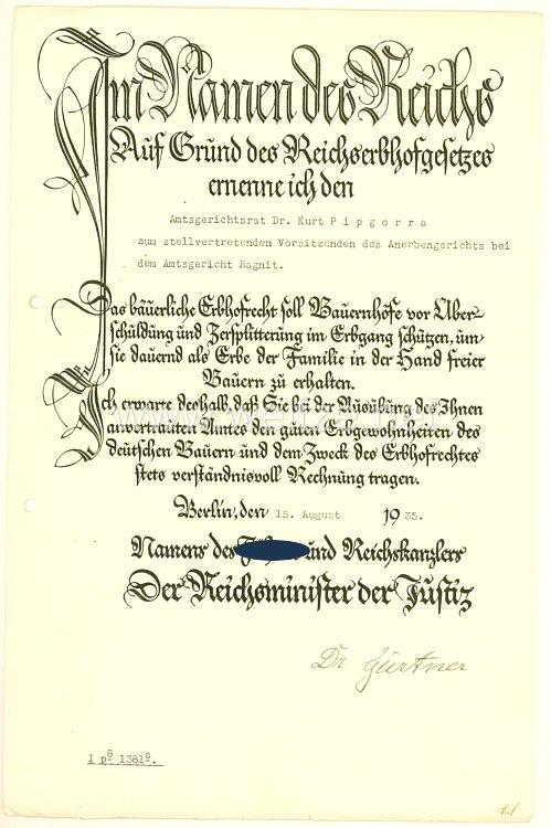 III. Reich - Der Reichsminister der Justiz Dr. Franz Gürtner - Originalunterschrift auf einer Ernennungsurkunde