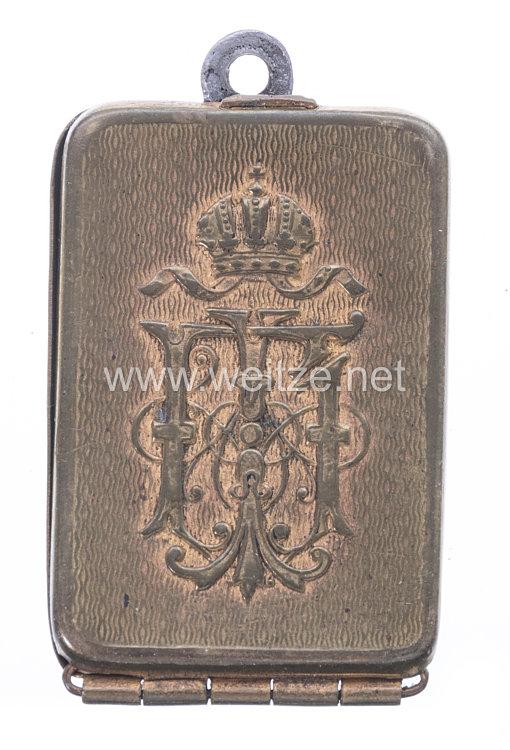 """Österreich K.u.K. Monarchie Legitimationskapsel für Oberst David Blaschke, Kommandant des K.u.K. Husaren Regiment Nr. 6 """"Wilhelm II., König von Württemberg""""."""