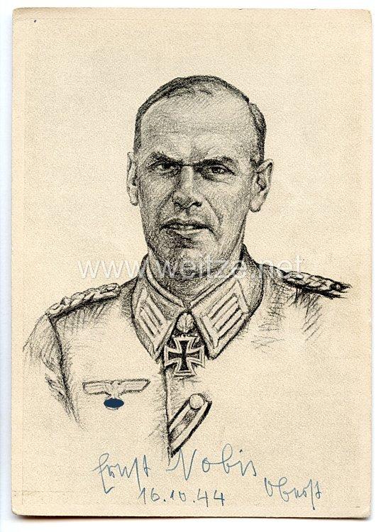 Heer - Originalunterschrift von Ritterkreuzträger Oberst Ernst Nobis