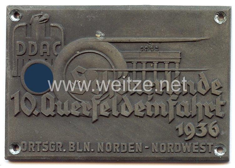 III. Reich - Der Deutsche Automobil Club ( DDAC ) - nichttragbare Teilnehmerplakette -