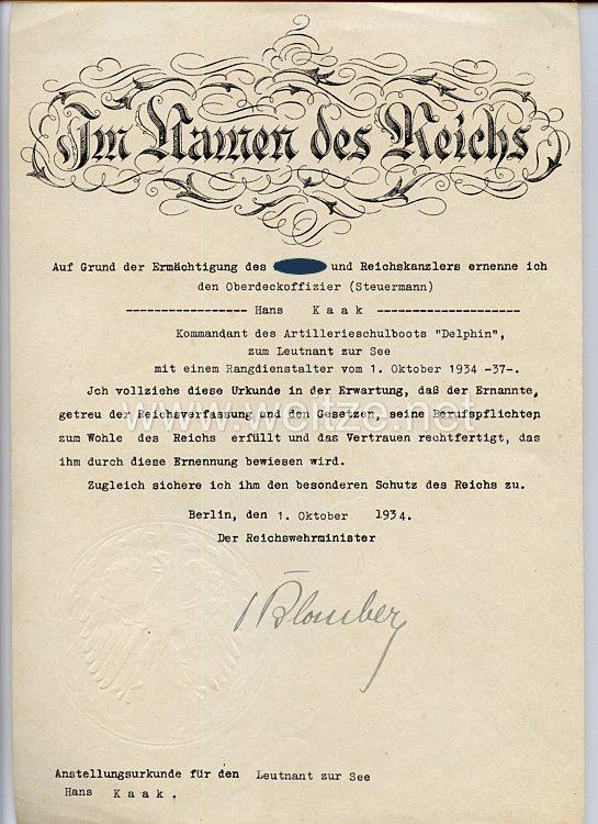 III. Reich - Originalunterschrift von Reichswehrminister Werner von Blomberg