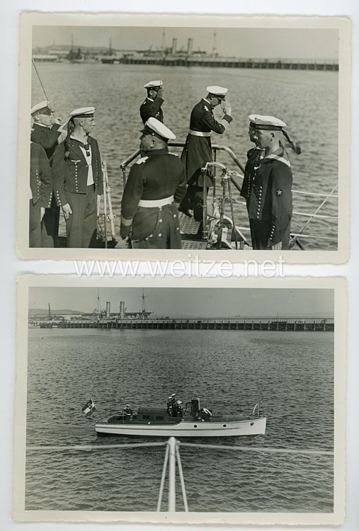 """Kriegsmarine Pressefoto, Beiboot des Leichten Kreuzer """"Karlsruhe"""" in Kiel"""